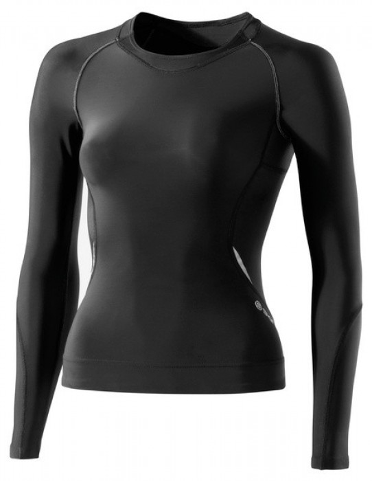 Skins A400 Womens Black/Silver Top Long Sleeve